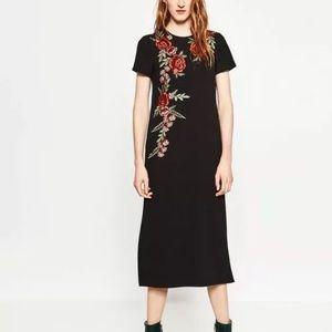 NWT Zara Floral Embroidered Black Midi Dress XS